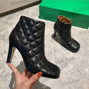 Горячая дизайнер кожа зима теплый ботинок Фахсион лозенг высокий каблук женская платформа платформа ямбцовкинского ботинка 35-40 с коробкой пыли