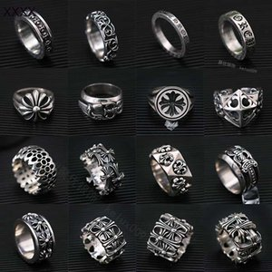 Punk cross tomb 925 pure silver crosin ring personality Japan and Korea rattan men and women's anti tide k155