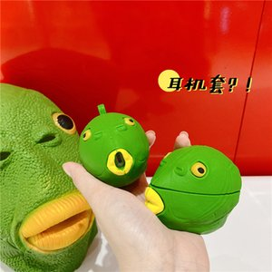 For Airpods 1 2 Case 3D Cute Cartoon Green Fish Head Case For Airpods pro Case Soft Silicone Earphone Headphone Cover Capa