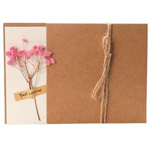 Tarjeta del festival con la flor seca Emular Paper Flower Día de las madres Postal DIY Postal para el amante de la Madre Kraft Sobre de papel 17 Estilo Lla494