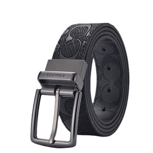 2021 New Mens C Buckle Two-Layer Cowhide Belt Business Double Buckle Gift Box Fashion Belt Men