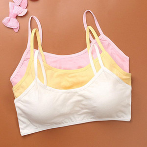 Cotton Kids Sports Bra Push Up Running Bra Tops Girls Full Cup Seamless Underwear Training Puberty Sports Yoga Gym Sport