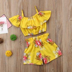 Малыш ребёнок одежда желтый цветочный отброшенный ремешок топы жилет шорты дна летние наряды пляж одежда 341 y2