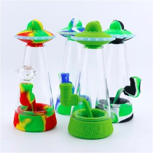 Factory Wholesale Newest 8.9 Inch UFO Shape Glass Bowl Hookah Water Bong Silicone Smoking Tobacco Pipes