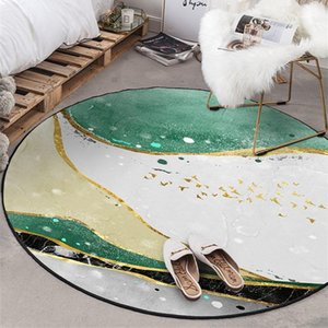 Nordic Marble Round Carpet Rug for Living Room Kids Playing Tent Area Rugs Bedroom Coffee Table Tapete Non-Slip Tatami Floor Mat