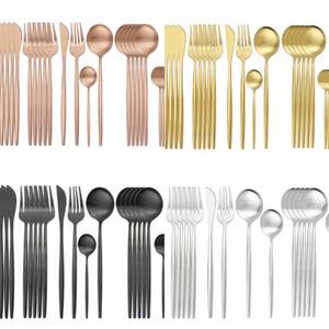 24pcs / set أسود الذهب المائدة أدوات المائدة مجموعة الحلوى شوكة أطباق مجموعة 18/10 غير القابل للصدأ المتنق الرياضيات أدوات المائدة Silverware 111 V2