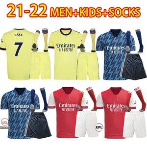 Arsen Soccer Jersey Fans Version Gunners 21 22 ØDegaard Pepe Saka Thomas Willian Nicolas Tierney 2021 2022 كرة القدم قميص الرجال + أطفال كيت بعيدا الأصفر الرابع 9999 + الجوارب