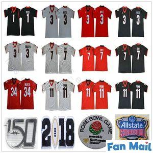 UGA Georgia Bulldogs Koleji 150th Yıldönümü 11 Jake Fromm 7 Dandre Swift 3 Zamir Beyaz Todd Gurley II 34 Herchel Walker Sugar Bowl Jersey