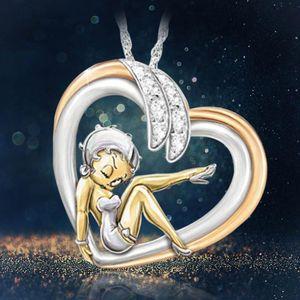 Flower Fairy Elf colar para mulheres menina cute anjo amor coração acreditar cristal pingente colar de jóias de strass
