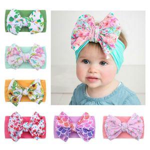 Soft Nylon Elastic Big Bow Hairband Toddler Bowknot Flower Headbands Baby Girl Infant DIY Hair Accessories