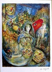 Marc Chagall Bella Ev Dekorasyon El Sanatları / HD Baskı Yağlıboya Tuval Duvar Sanatı Tuval Resim 210305