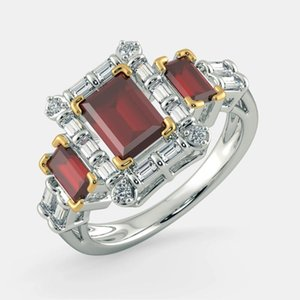 Cluster Rings Luxury Women's Red Gem Ring Crystal Zircon European Engagement Wedding Princess Square Cocktail Party Jewelry