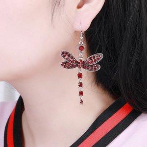 Vintage Dragonfly Tassel Earring Multi Color Crystal Dangle Earrings Boho Rhinestone For Women Lady Design Jewelry Accessories