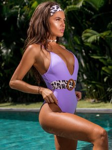 2020 New Bikini Womens One-Piece Swimming Suit Hot Swimwear with Hair Band Leopard Belt Swimsuit Purple Women Bathing Suits