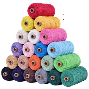3mm 100% Cotton Cord Colorful Cord Rope Beige Twisted Craft Macrame String DIY Home New Textile Wedding Decorative supply 110yards 49 S2