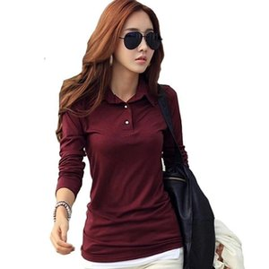 Polo Japan Women New spring Autumn Long Casual Sleeve Slim Polos Mujer Black White Red Women Tops For Lady Tees Shirts