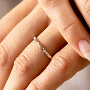 Wedding Rings Cute Rose Gold Silver Color Thin Knuckle Ring Simple Female Small White Zircon Fashion Engagement For Women