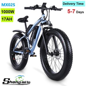EU Shengmilo MX02S 26 Inch Electric 1000W Mountain Bike 40KM H City Fat Tire Bicycle 17Ah Lithium-battery Adult Ebike Pedal Assist