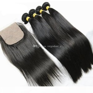 8A Silk Base Closure With Bundles 5Pcs Lot Brazilian Silky Straight Human Hair Weaves 4Pcs With 1Pc 4*4 Silk Top Lace Closure