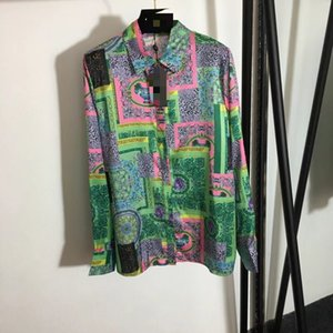 227 2021 Runway Shirts Spring Summer Shirts Lapel New Green Flora Print Brand Same Style Shirts yipinhui