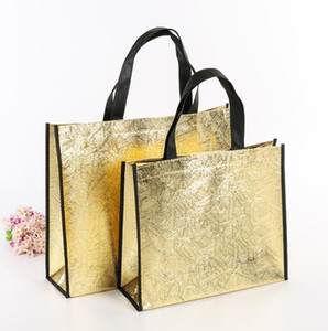 DIY Shopping Bags Foldable Fashion Tote Laser Fabric Nonwoven No Zipper Bag Home Reusable Handbags SN5190