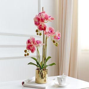 고급 잘 설계된 테이블 꽃 + 꽃병 인공 라텍스 난초 꽃꽂이 진짜 터치 인자 인기 T200103