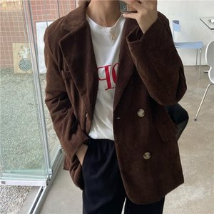Hzirip 2021 Vintage Corduroy Chaquetas Femenino Outwear Blazers Hot Flow Solid Streetwear Streetwear All Match Women Chic Abrigos