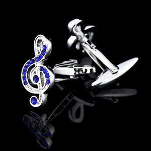 Cuff Link And Tie Clip Sets Music Cufflinks Set Silver Blue Treble Clef Piano Score Button For Mens Suits Wedding Business