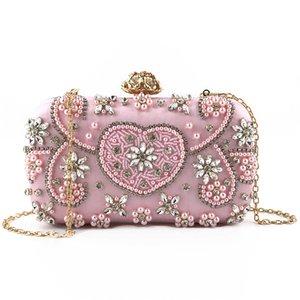 Porte-monnaie d'embrayage pour femmes Cristal Diamond Sacs Soirée Sacs Blanc Perles Perles Girls Girls Sac Sac Bridal Mariage Embrayages Sacs à main