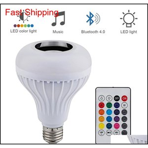 Wireless 12W E27 Led Rgb Bluetooth Speaker Bulb Power With Music Playing Light Lamp + Remote Controller Dqo3W Vwhrj