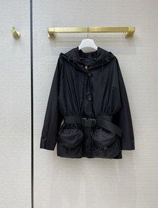 Milan Runway Jackets 2021 Mola de manga comprida com capuz painéis de designer de mulheres de mulheres mesmas casacos de estilo 0316-1