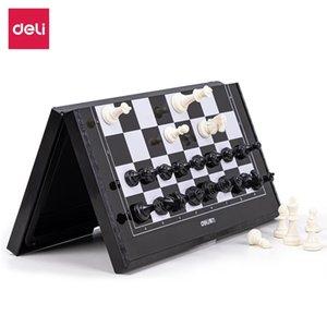 Deli 6758 portable folding small magnet student beginner's chess board