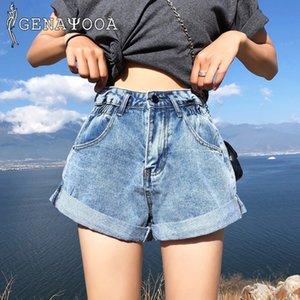 Genayooa Streetwear für Koreaner 2021 Sommer Hohe Taille Shorts Frauen Jeans Denim Mini Damen Kurzer Feminino