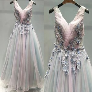 Pretty Tulle Rainbow Wedding Dress A-Line with 3D Flowers Pearls Beaded Floral Wedding Dresses Lace Up Back Offbeat Wedding Gowns