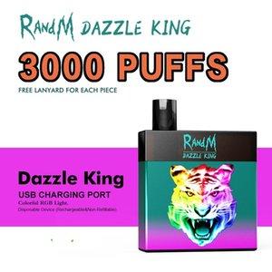 FUMOT hot E Cigarette Disposable factory original R and M Dazzle King 3000 Puffs Device Kit 8ml Vape Pen RGB Light 12 Colors