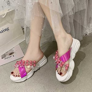 Rimocy Fashion Beaded Transparent PVC Sandals Women Summer 2020 Crystal Open Toe Platform Slides Woman Wedges Outdoor Slippers 44ZZ#