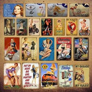 2021 americano engraçado poster pin up menina senhora lata sinais garagem parede decoração placa pub café bar festa vintage metal pintura 30x20cm