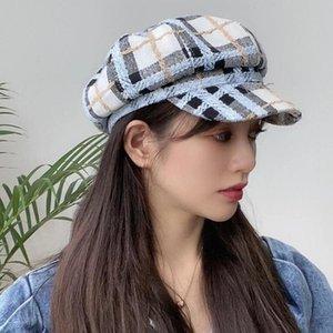 Yoyocorn 2021New con elegantes colores ricos mujeres mujeres negras otoño invierno moda lana remiendo periódico gorras con cinturón hembra gorras