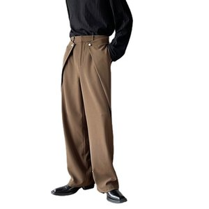 Men Button Fashion Show Loose Casual Straight Pant Korean Streetwear Office Long Suit Trousers Man Pants