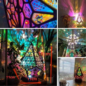Bohemian Projection Lamp USB Table Lamps Colorful Light Starry Sky Night Lamp Bohemian Style Decor Gift for Home Art Crafts