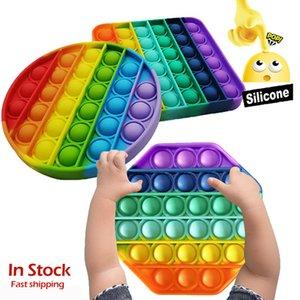 Rainbow Push Bubble Fidget Sensory Toy Push Pops It Bubble Fidget Antistress Toys Adult Kids Pops It Fidget Sensory Toy Autism