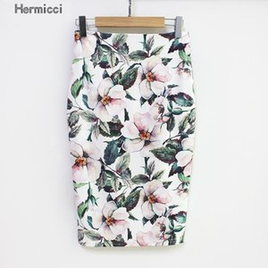 Hermicci Summer Style Style Skirt Gonna Donna Alta Vita Green Gonne Vintage Elegante BodyCon Stampa floreale Gonna Midi 210304