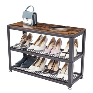 Easy Assembly End Shoes Rack Tables with Wheels 3 Tier Heavy-Duty Steel Frame, Industrial Shoes Rack Table for Living Room