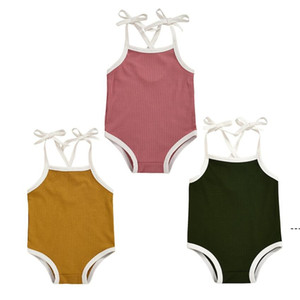 Toddler Girls Jumpsuits Sleeveless Solid Pit Strip Camisole Suspender Vest Tops Triangle Shorts Jumpsuits Baby Rompers Swimsuit OWE4913