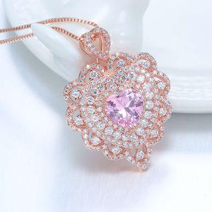 HBP Fashion Luxury 2021 летние новые розовые в форме сердца полый кулон сладкий корейский микро-инкрустированный розовое золото ожерелье