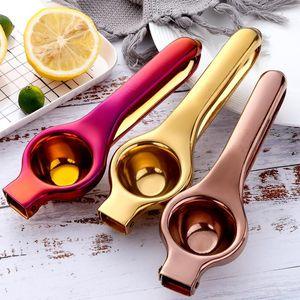 Prático manual Lemon Squeezer Aço Inoxidável Mão Press Laranja Frutas Juicer Juicer Mini Limão Clipe Cozinha Ferramentas BWD5027