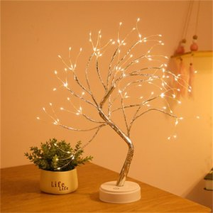 بطارية تعمل شجرة مصباح الزخرفية أضواء أدى شجرة أضواء الليل الجنية usb اللمس مكتب الجدول الاطفال نوم دافئ أبيض ليلة السرير مصباح 321