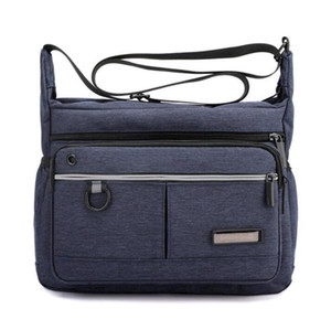 Cross body Bags Men Oxford Plain Double Zipper Pouch Large Capacity Waterproof Sport Phone Messenger Bag Mix Color