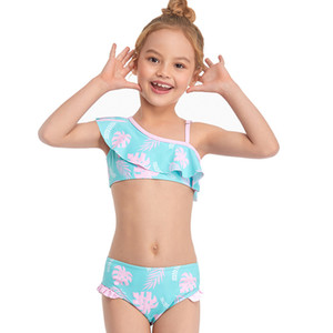 New Children's Swimsuit for Children Girls Kids Bikini Child Bathing Suit Baby Female Broken Flower Condole Swimwear 2021 Girl Swim Loj9