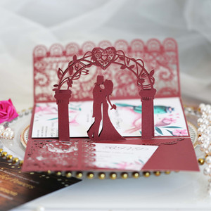 3D Burgundy Pop Up Bride and Groom Wedding Invitation Cards DIY Personalized Print Laser Cut Sweetheart Bridal Shower Party Greeting Cards